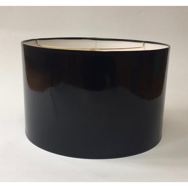 Modern Modern High Gloss Black Drum Lampshade For Sale - Image 3 of 5