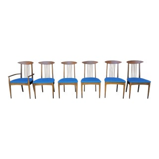 Broyhill Sculptra Turquoise Blue Herring Bone New Upholstered Seats Dining Chairs - Set of 6 For Sale