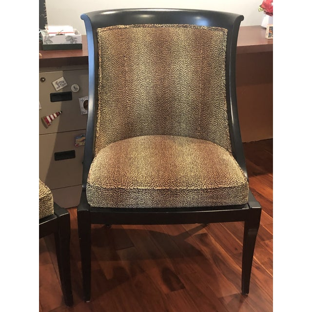 Two, 20th Century Traditional Ethan Allen Accent Chairs in animal print in tan fabric.
