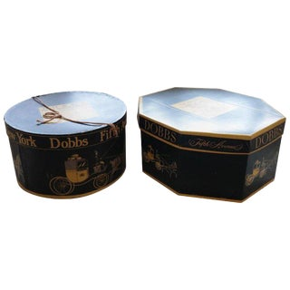 1930s Americana John Dobbs New York Fifth Avenue Hat Boxes - 2 Pieces For Sale
