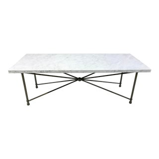 Sherrill Occasional Modern WHite Carrara Marble Halmstad Cocktail Table For Sale
