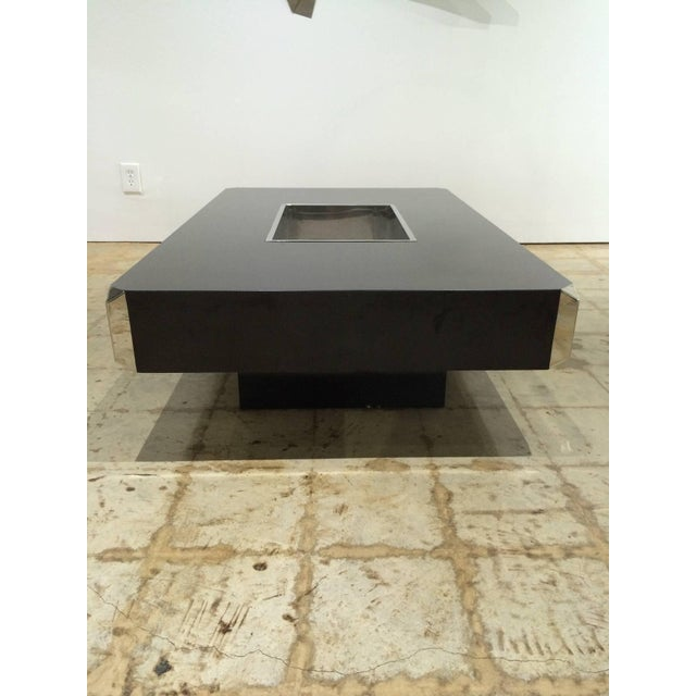 """1970s Willy Rizzo """"Alveo"""" Coffee, Cocktail Table With Dry Bar by Mario Sabot For Sale - Image 5 of 6"""