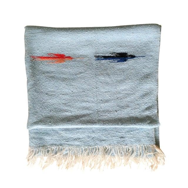 Vintage Blue Thunderbird Serape Blanket - Image 1 of 6