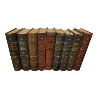 "Vintage Nine Volume Set ""The Atlantic Monthly"" Leather Books For Sale"