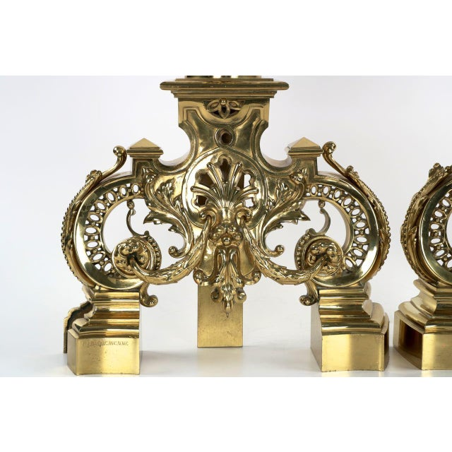 19th Century F. Barbedienne Louis XVI Style Brass Chenets Andirons - A Pair For Sale - Image 5 of 11
