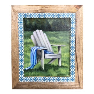Adirondack in the Grass Framed Painting For Sale