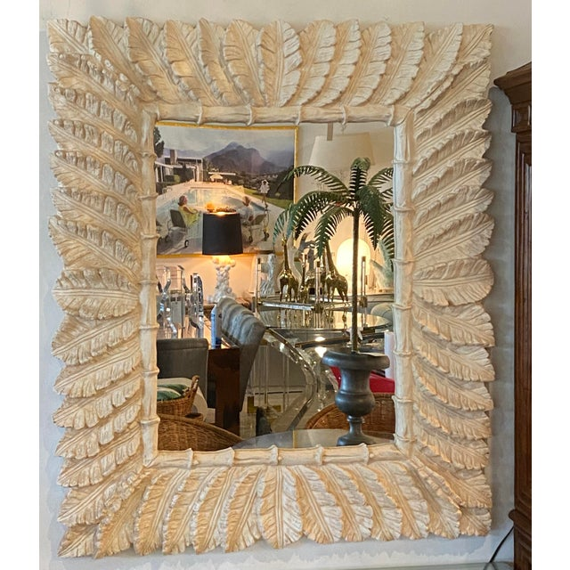 Hollywood Regency Vintage Tropical Palm Tree Leaf Leaves Faux Bamboo Wall Mirror For Sale - Image 3 of 9