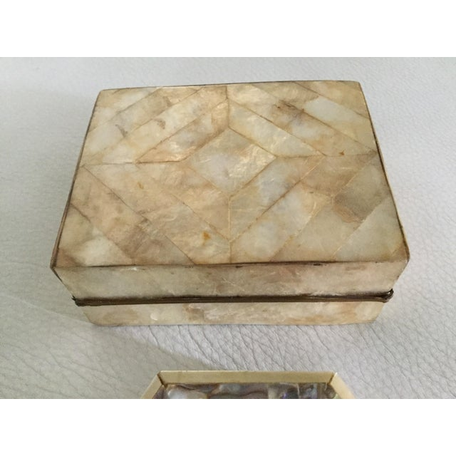 Mother-of-Pearl & Capiz Inlaid Boxes - A Pair For Sale - Image 4 of 6