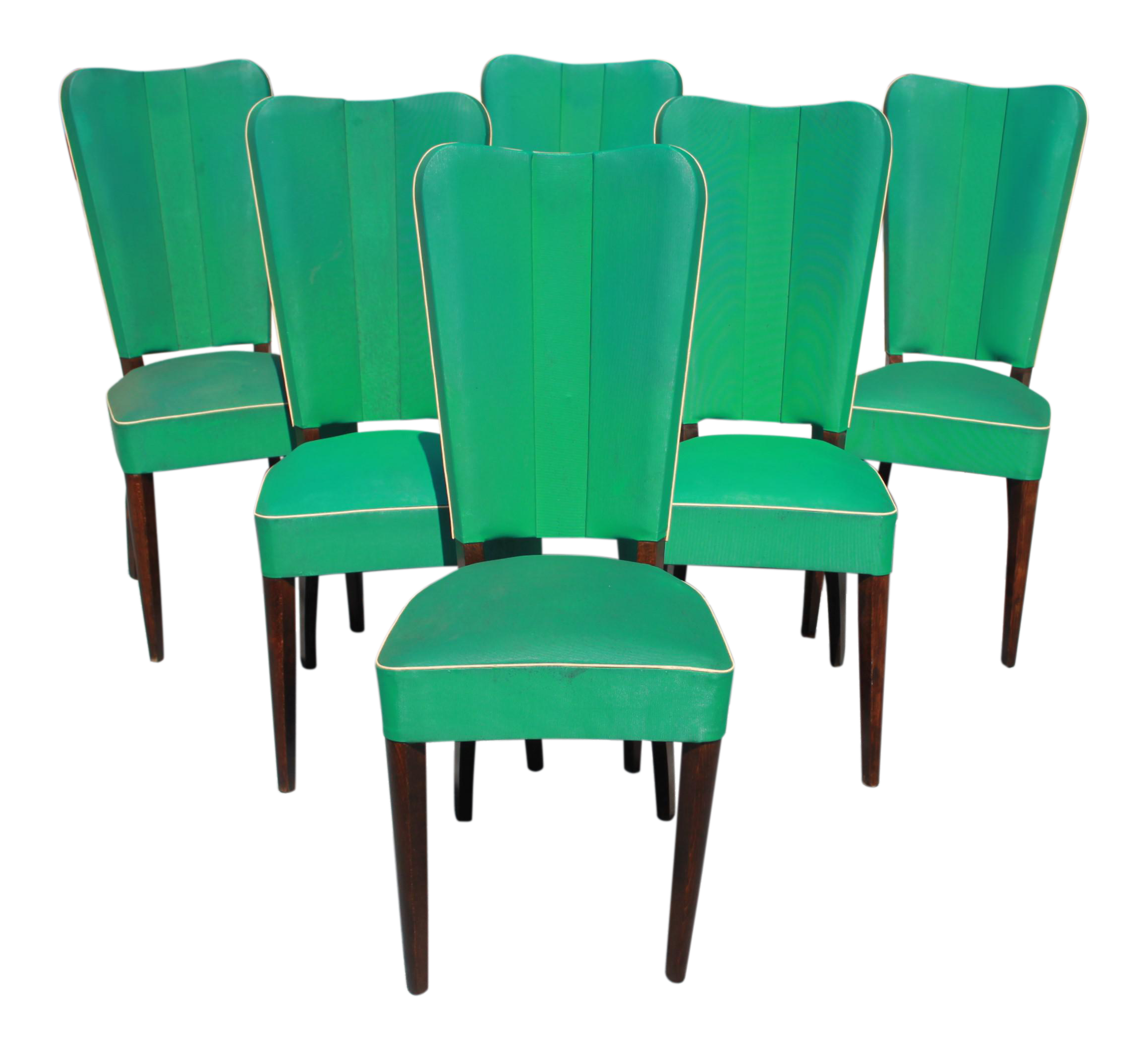 vintage art deco furniture. Monumental Set OF 6 French Art Deco Solid Mahogany Dining Chairs By Jules Leleu Circa 1940s Vintage Furniture L
