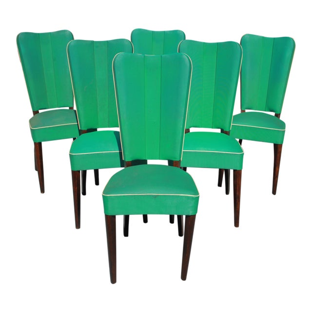 Monumental Set OF 6 French Art Deco Solid Mahogany Dining Chairs By Jules Leleu Circa 1940s - Image 1 of 13