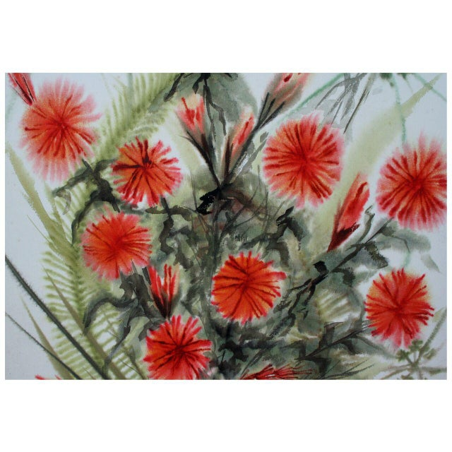 Cottage 'Red Flowers' Original Painting by Faye Hammons For Sale - Image 3 of 3