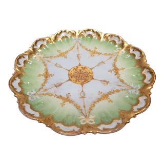 Vintage Limoges Green and Gold Plate For Sale