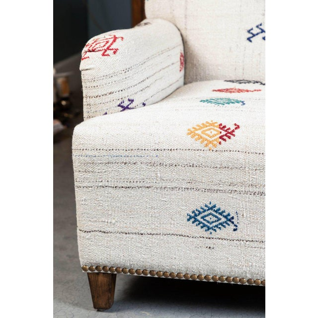 Mid 20th Century Custom-Made Settee, Upholstered in a Vintage Flat-Weave Kilim Rug For Sale - Image 5 of 7