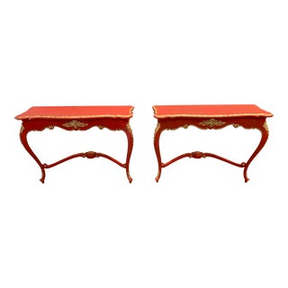 1900s French Red Console Tables - a Pair For Sale