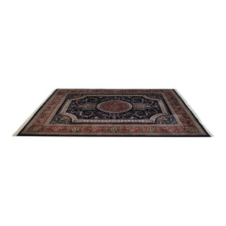 Hand Tied 8' x 10' Blue and Red Indo Sarouk Rug For Sale