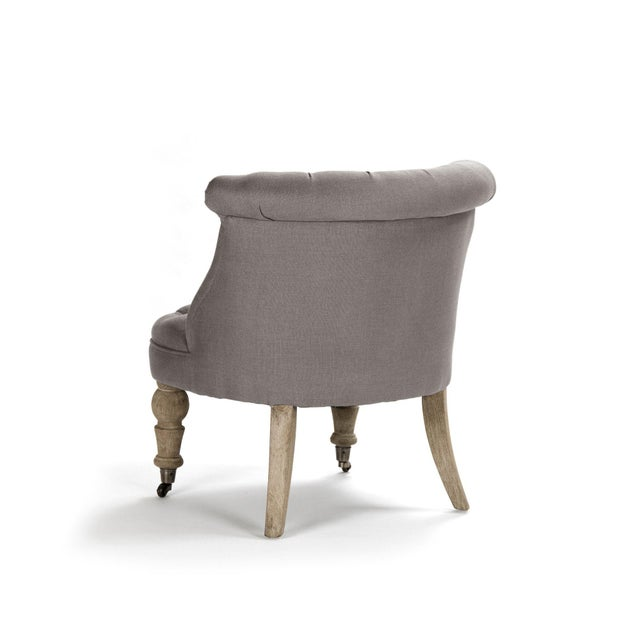 French Country Shelley Slipper Chair in Gray For Sale - Image 3 of 6