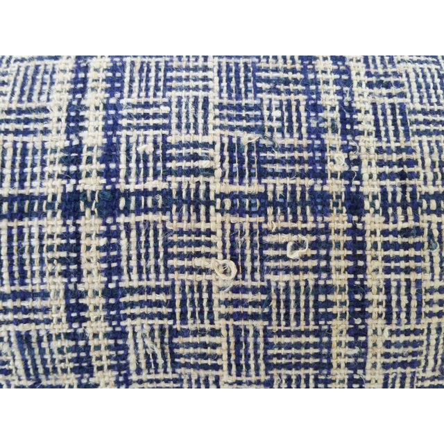 Tribal Indigo Plaid Neck Pillow - Image 3 of 4