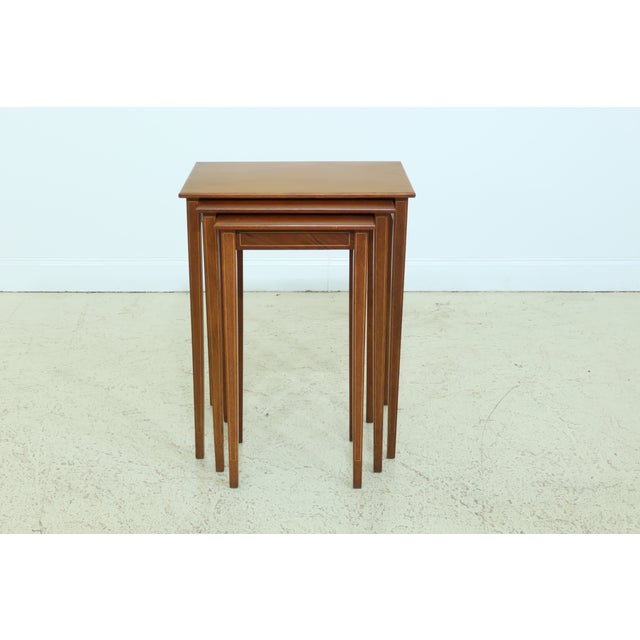 Biggs 3 Piece Inlaid Mahogany Nesting Stack Tables For Sale - Image 10 of 10