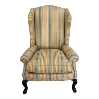 Pair of Contemporary Wing Chairs, Carved Leg, Low Scroll Arm - For Sale