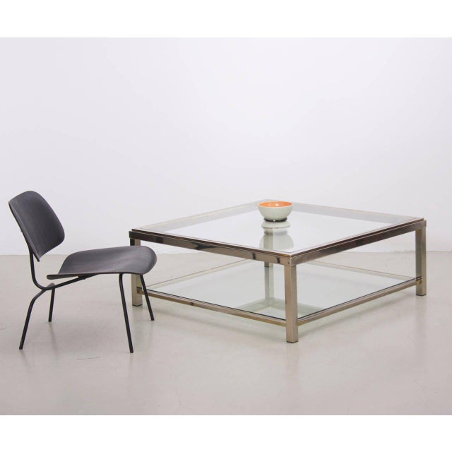 Modern Two-Tier Brass and Chrome Coffee Table attributed to Willy Rizzo For Sale - Image 3 of 6