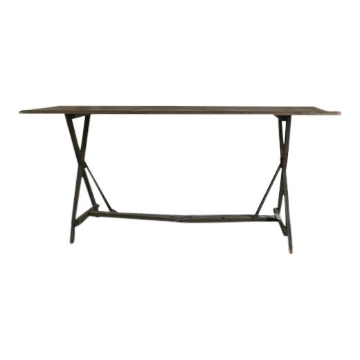 20th Century French Foldable Wood Console Table For Sale