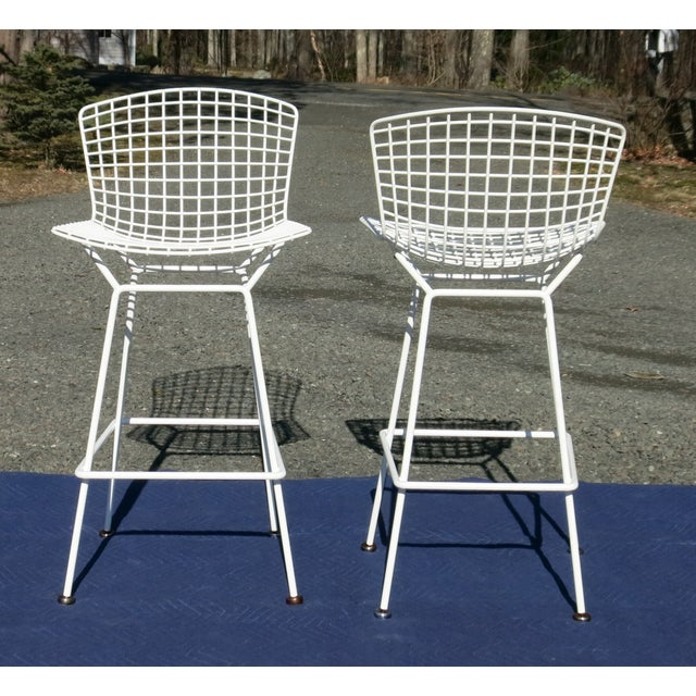 Mid-Century Modern Knoll Bertoia Bar Stools- A Pair For Sale - Image 3 of 9