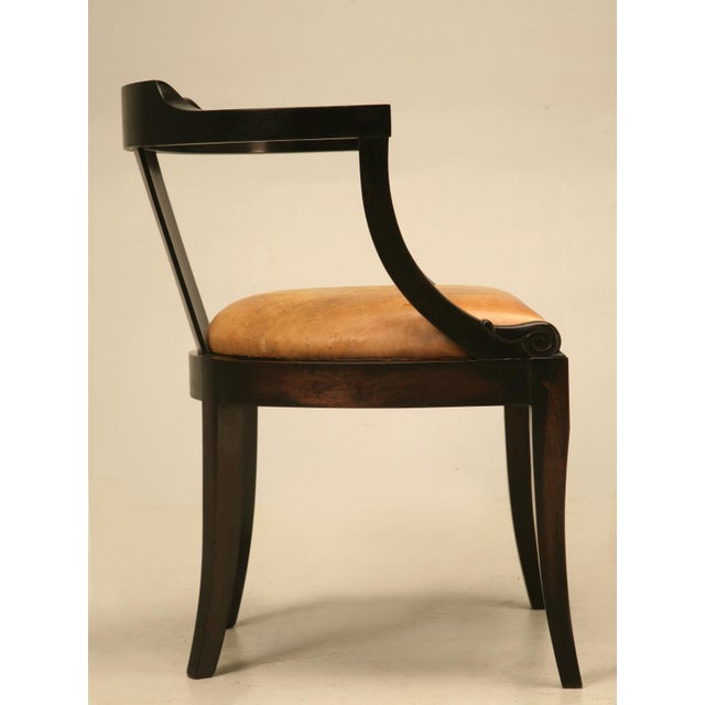 Brown French Ebonized Mahogany Antique Desk Chair with a Leather Seat  Cushion For Sale - Image - Fine French Ebonized Mahogany Antique Desk Chair With A Leather Seat