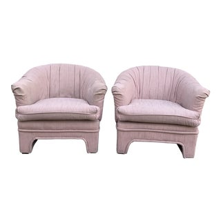 1980s Pink Club Chairs - a Pair For Sale