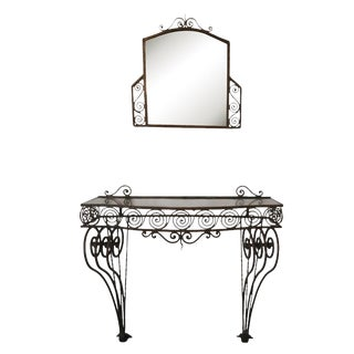1930's Iron Console With Glass Top and Mirror - 2 Pieces For Sale