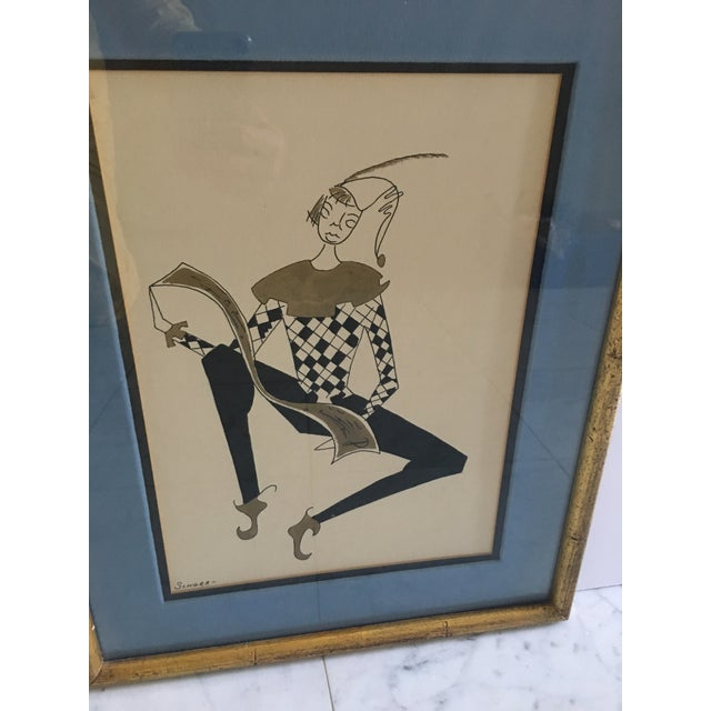 Hollywood Regency Harlequin/Jesters Signed Drawings - a Pair For Sale In Detroit - Image 6 of 7