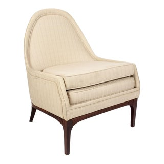 1950s Vintage Danish Modern Upholstered Slipper Chair For Sale