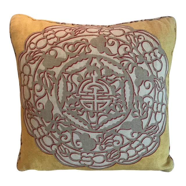 Chinoiserie Yellow Manuel Canovas Medallion Pillow For Sale