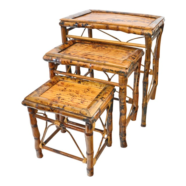 Vintage Bamboo Nesting Tables - Set of 3 For Sale