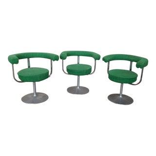 1950s Vintage Mid-Century Modern Aluminum Tulip Base Swivel Armchairs - Set of 3