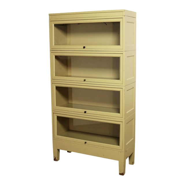 Industrial Barrister Stacking Bookcase Globe Wernicke Distressed Yellow Painted Wood For Sale