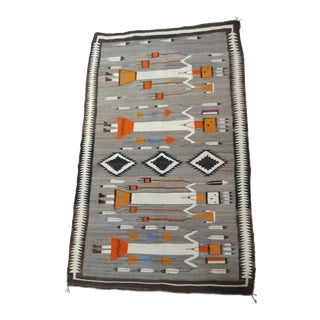 1920s Navajo Beautiful Native American Yei Rug- 3′9″ × 6′1″ For Sale