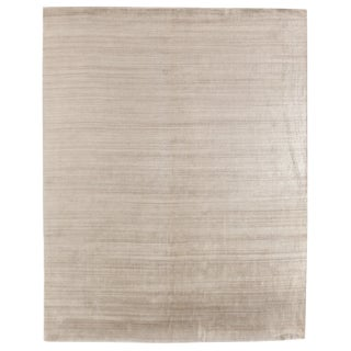Exquisite Rugs Creil Hand loom Bamboo/Silk Light Beige Rug-6'x9' For Sale