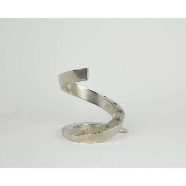 Abstract 1960s Minimalistic Dansk Silver Spiral Candle Holder For Sale - Image 3 of 11