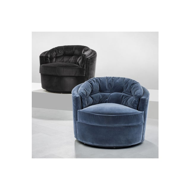 Contemporary Eichholtz Recla Blue Round Art Deco Accent Chair For Sale - Image 3 of 8