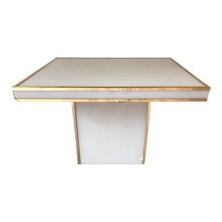 Rougier White Glass & Brass Table For Sale