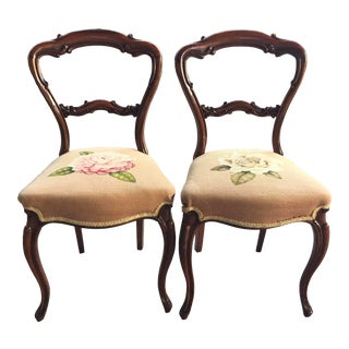 Victorian Balloon Back Chairs a Pair Needlepoint Upholstery For Sale