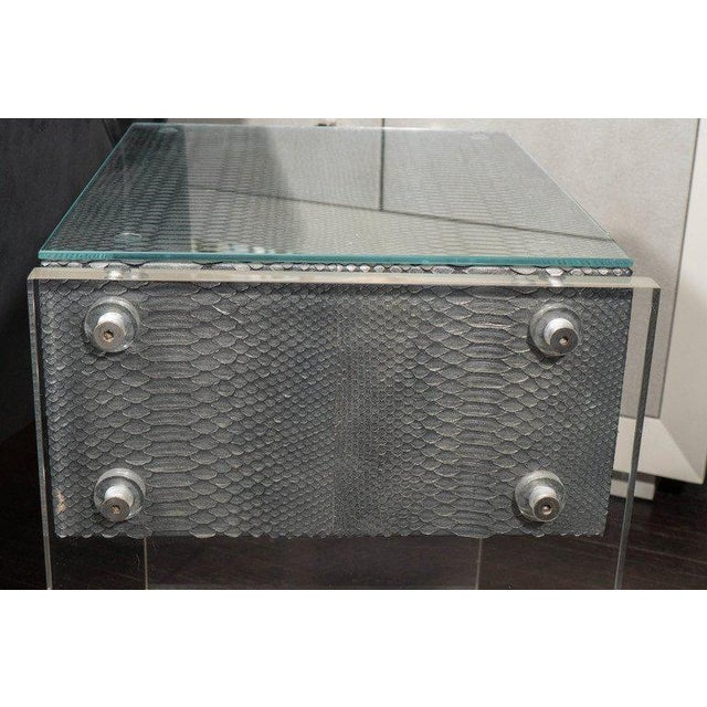 2000 - 2009 Pair of Gunmetal Gray Python Nightstands with Lucite Side Panels For Sale - Image 5 of 9