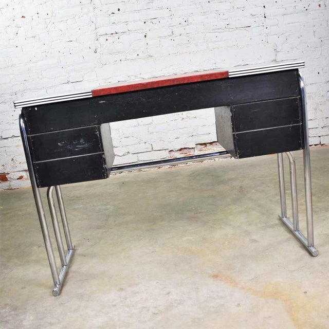 Art Deco Machine Age International Style Chrome & Black Desk Gilbert Rohde Attribution For Sale - Image 9 of 13