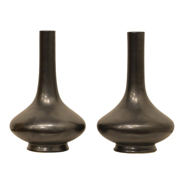 Hand Thrown Matte Black Glaze Chinese Vases Pair For Sale