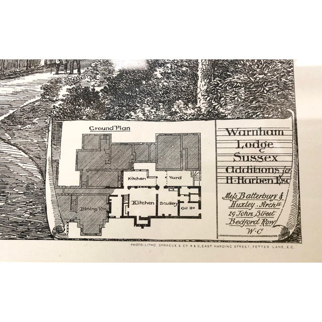 Country 1893 Warnham Lodge Architectural Drawing For Sale - Image 3 of 12