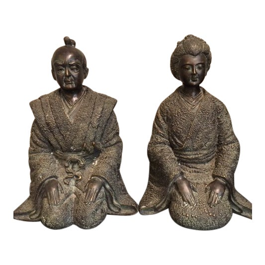 Pair Japanese Bronze Figures For Sale