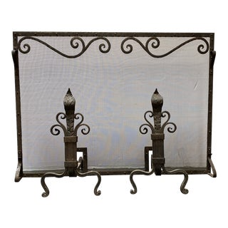 Early 20th Century Arts & Crafts Screen + Pair of Andirons Set For Sale