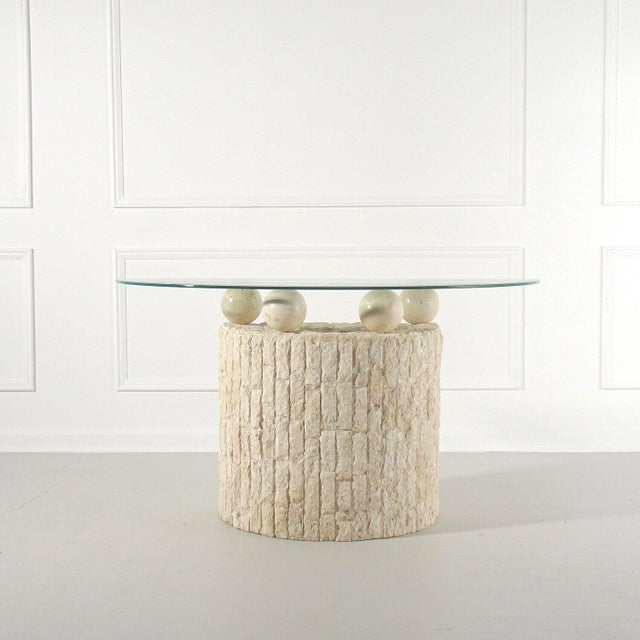 Post Modern Demilune Mactan Stone Console Table For Sale In Tampa - Image 6 of 6
