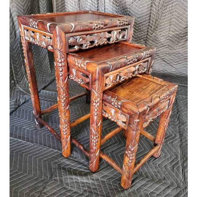 Antique Chinese Carved Nesting Tables - Set of 3 For Sale - Image 11 of 11