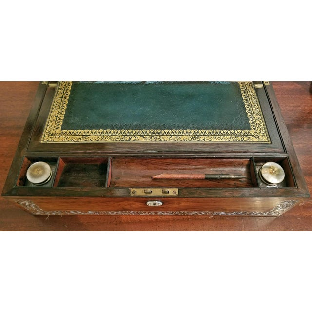 19c British Rosewood Campaign Writing Slope For Sale - Image 10 of 11